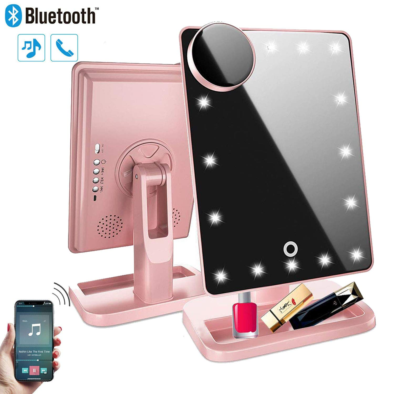 Makeup Mirror with Lights and Bluetooth,Vanity Mirror with 20 LED, Adjustable Brightness, Detachable 10x Magnification,Girl Lighted Up Cosmetic Mirror, Rechargeable Rose Gold