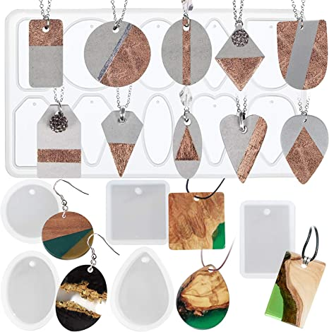 home decor casting mold jewelry silicone mold keychain mold square water drop rectangle C shape pendant jewelry Earring Resin Mold