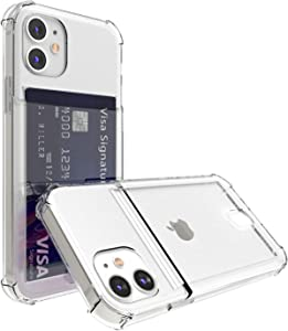 ANHONG Clear Card Case Compatible with iPhone 12/12 Pro 6.1 Inch,Slim Fit Protective Soft TPU Shock-Absorbing Bumper Case with Card Holder