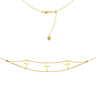 decfaad7bd38f Amazon.com  Triple Cross Choker 14k Yellow Gold Necklace