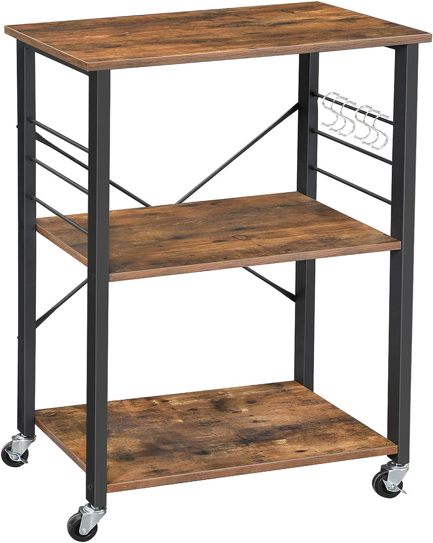 VASAGLE ALINRU Kitchen Baker s Rack, Microwave Oven Stand Storage Cart, 3-Tier Serving Cart with Metal Frame and 6 Hooks, Industrial Design, Rustic Brown UKKS60XV1