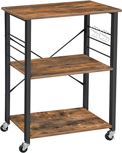 VASAGLE ALINRU Kitchen Baker s Rack, Microwave Oven Stand Storage Cart, 3-Tier Serving Cart with Metal Frame and 6 Hooks, Industrial Design, Rustic Brown UKKS60XV1