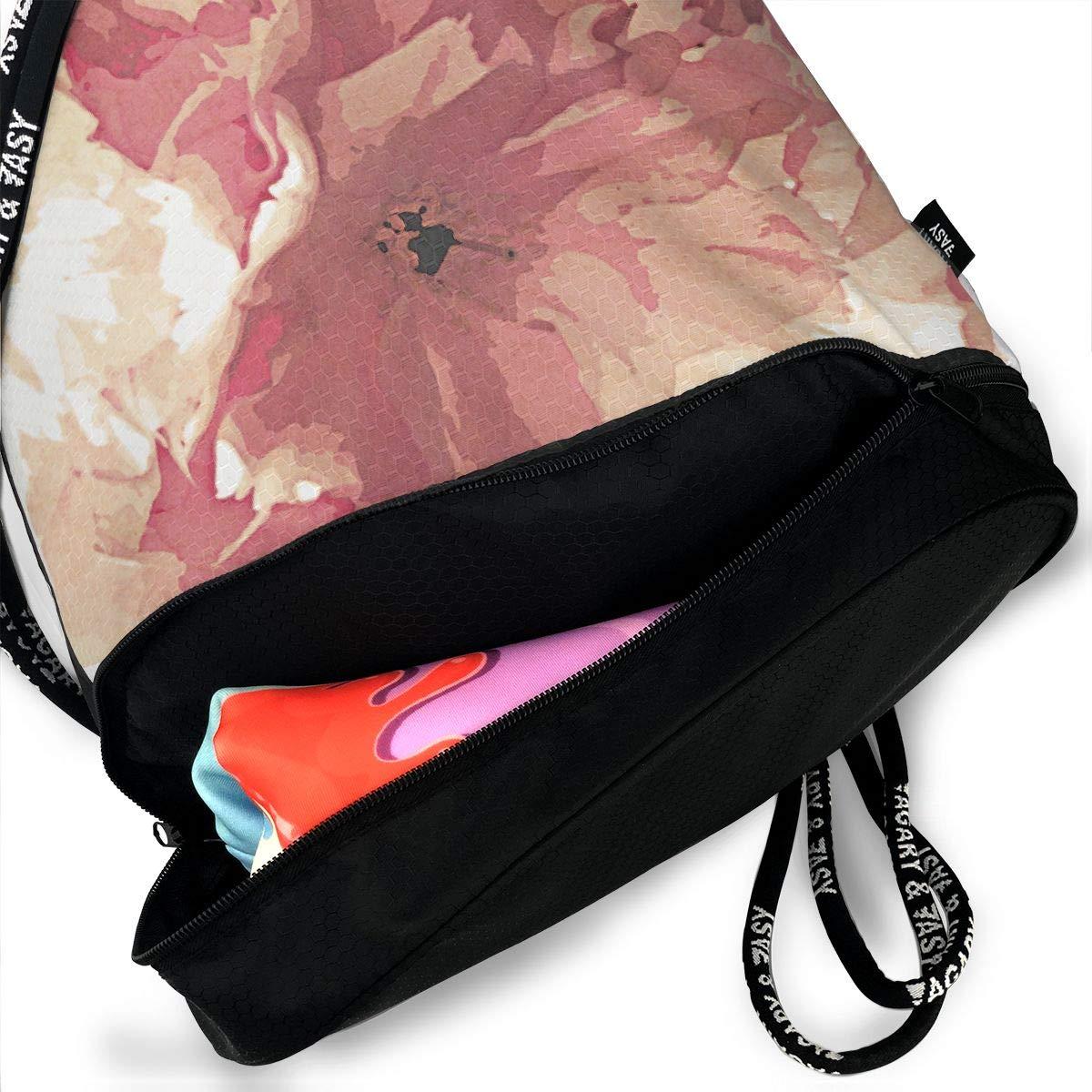 Pink Prunus Tea Towel Spring Drawstring Backpack Sports Athletic Gym Cinch Sack String Storage Bags for Hiking Travel Beach