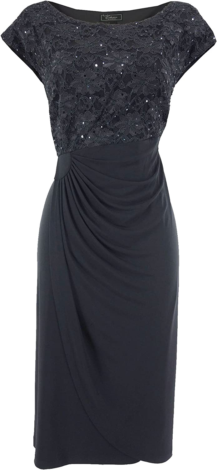 Dressbarn Collection Plus-Size Navy Shimmer Lace Top Dress ...