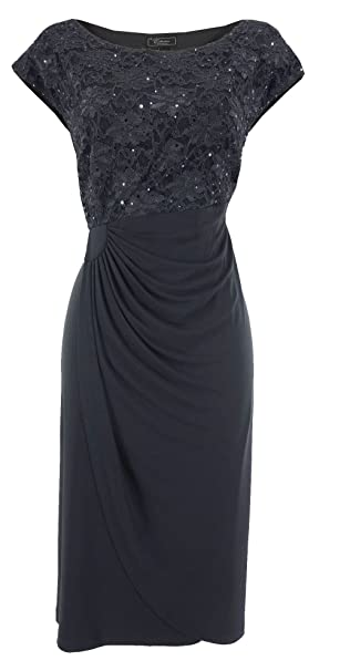 Dressbarn Collection Plus Size Navy Shimmer Lace Top Dress At Amazon