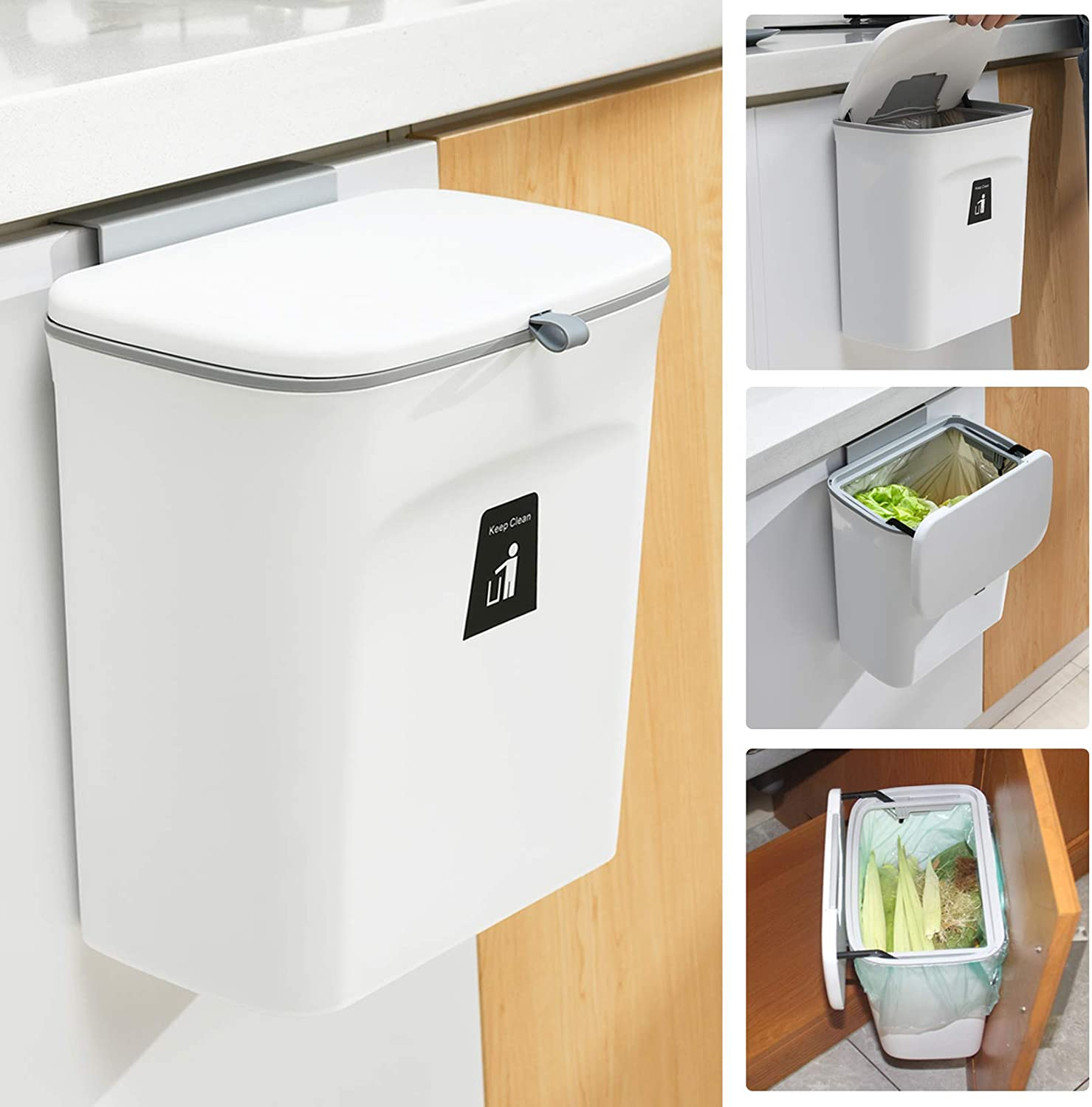 2.4 Gallon Kitchen Compost Bin for Counter Top or Under Sink, Hanging Small Trash Can with Lid for Cupboard/Bathroom/Bedroom/Office/Camping, Mountable Indoor Compost Bucket, White