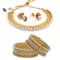 Zeneme Traditional Gold Plated Wedding Necklace Set & Bangle Set Jewellery For Womens & Girls