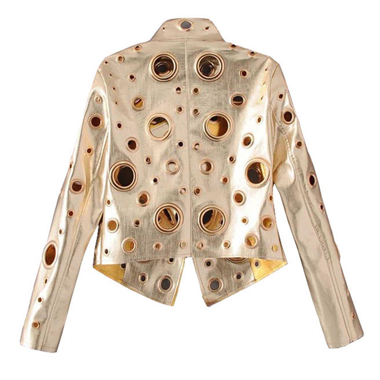 gold Jeff Tribble Moto Jacket Zipper Fashion Winter Jacket Women Outwear Coat Black PU Leather Jacket