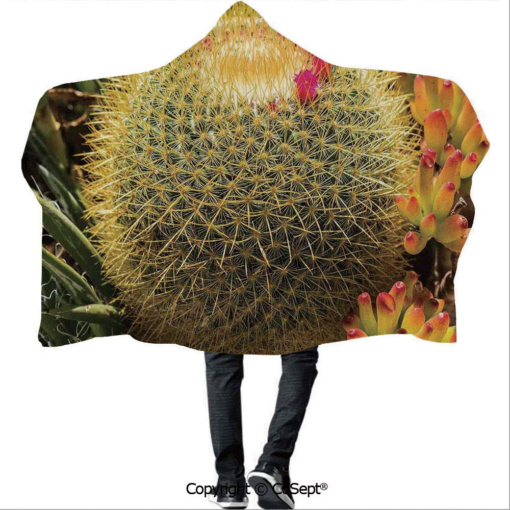 AmaUncle Wearable Hooded Blanket,Photo of Cactus Plant Flower with Spike Botanic Desert Garden Floral Image,for Adults and Children(59.05x78.74 inch),Green and Pink