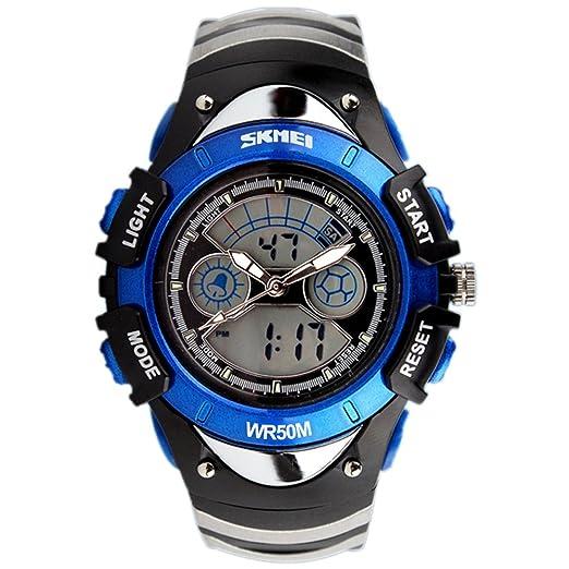 SKMEI Semana Led Niño Niña Deporte analógico-digital de alarma para niños cronógrafo reloj de pulsera-Blue: Amazon.es: Relojes