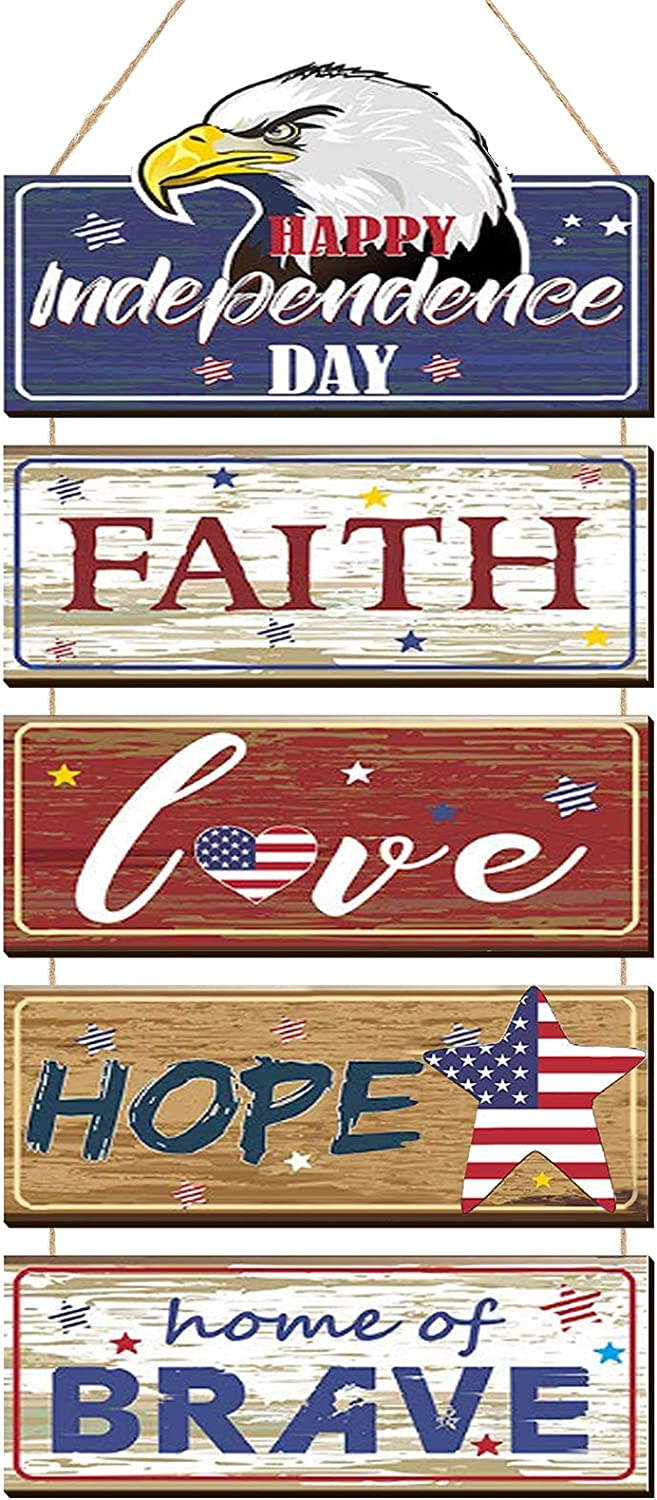 Wooden Patriotic Sign 4th of July Decoration Independence Day Sign Rustic Eagle with American Flag Wall Hanging Plaque Large Rustic American Patriotic Hanging Wall Decor for Home Fourth of July Party