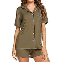 c99d1478449e Ekouaer Pajamas Set Short Sleeve Sleepwear Womens Button Down Nightwear Soft  Pj Lounge Sets XS-