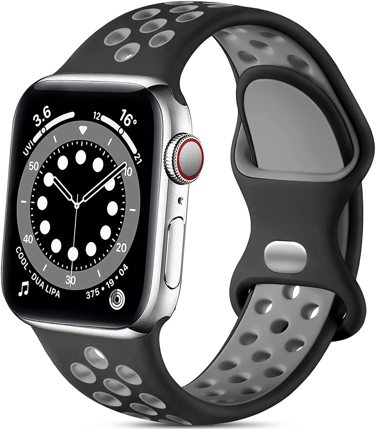 Lerobo Sport Bands Compatible with Apple Watch Band 44mm 42mm, Stylish Durable Breathable Soft Silicone Sport Replacement Strap Compatible for iWatch SE Series 6 5 4 3 2 1 Women Men, Black/Gray, M/L