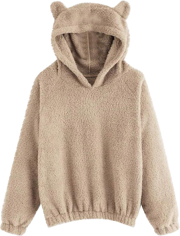 Yinella Women Cute Teddy Bear Fuzzy Fleece Pullover Hoodies Casual Long Sleeve Hooded Sweatshirts Tops Sweaters