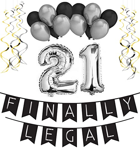 21st Birthday Party Pack Black Silver Happy Bunting