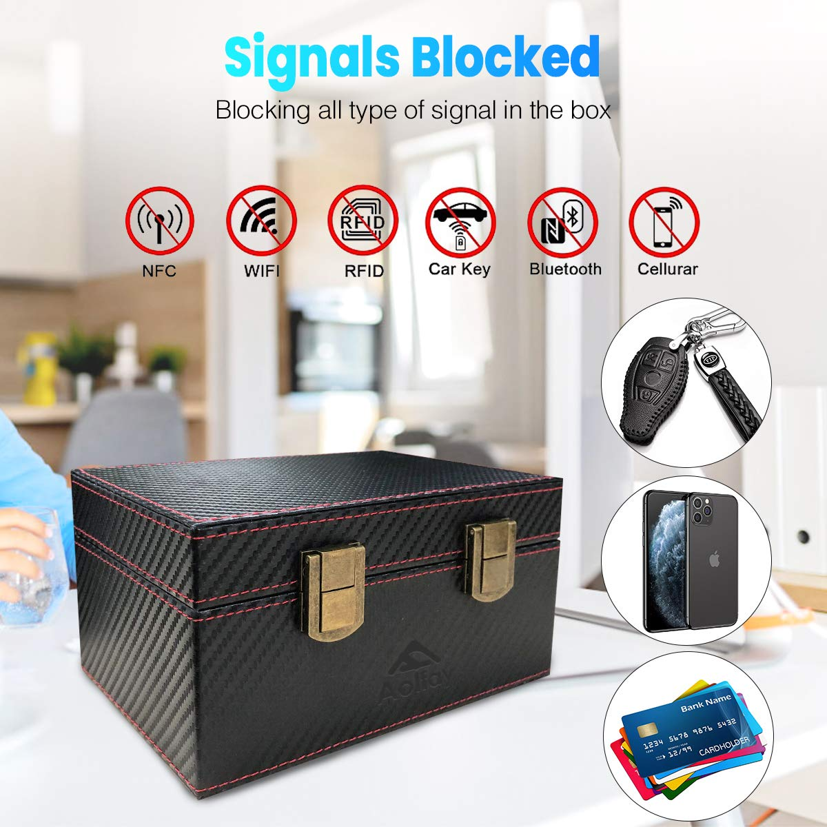 Aolfay Faraday Box, Signal Blocker Box for Car Keys, Keyless Cars Security Anti Theft Large Storage Box with 5 RFID Signal Blocking Cases, Shielding Pouch for Cell Phone and Car Key Privacy Protection
