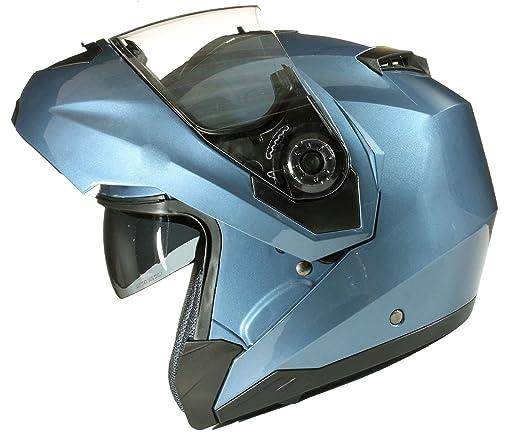 124 opinioni per Casco MODULARE per Moto con Integrale Doppia Visiera- Blu- M (57-58cm)