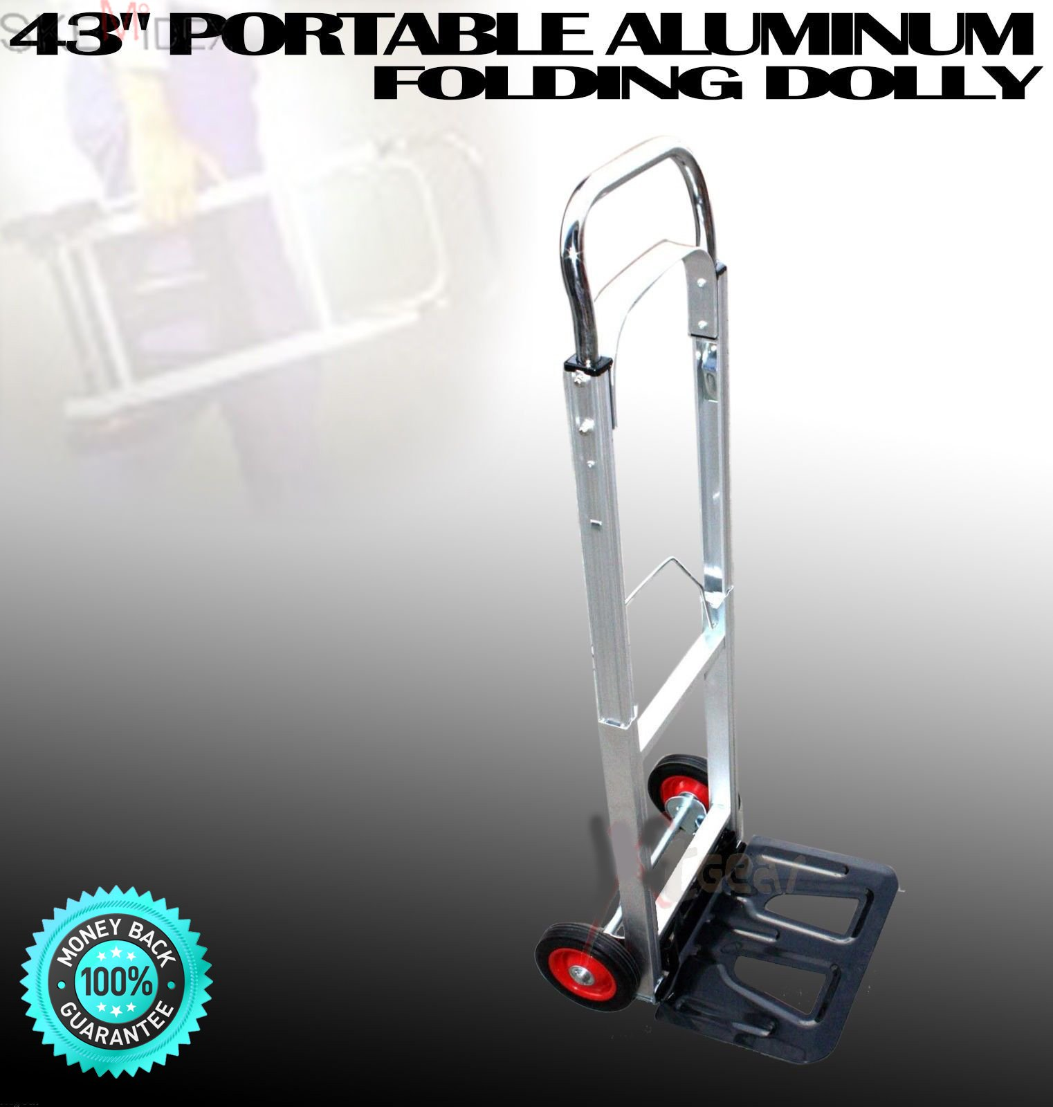 SKEMiDEX---200LBS PORTABLE ALUMINUM 43'' FOLDING DOLLY MOVING HAND CART TRUCKS HOLDS. Easily Folds Compact for storage. Light Weight for Travel, Office, Out Door, Home, and Shopping only