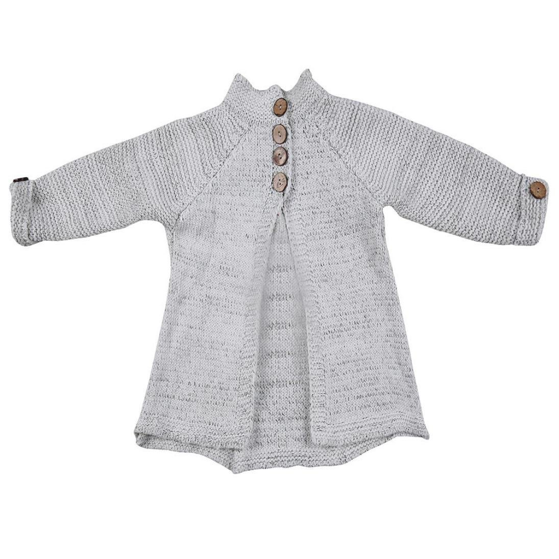 85fd013ac985 Amazon.com  Esharing Girls Solid Color Knitted Sweater Cardigan ...