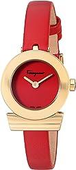 Salvatore Ferragamo Women's 'GANCINO Strap' Quartz Gold-Tone and Leather Watch, Color:red (Model: SF4300218)