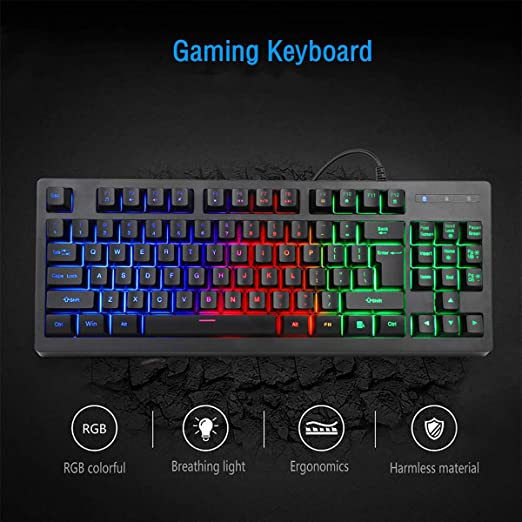 MFTEK - Teclado (retroiluminada, 3 Colores, LED, USB - Kit con ratón y Alfombrilla), Color Negro