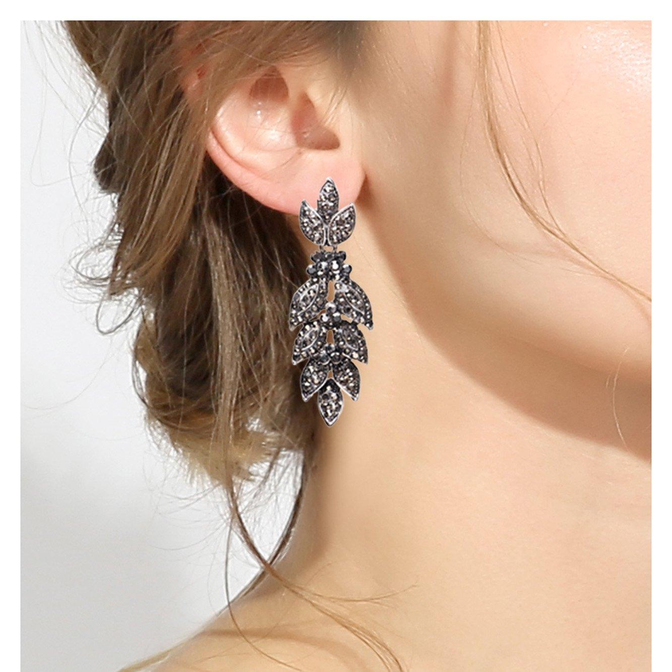 Unicra Vintage Black Crystal Stud Earrings Wedding Bridal Multiple Rhinestone Earrings Chandelier Long Dangle Earrings for Women and Girls by Unicra (Image #2)