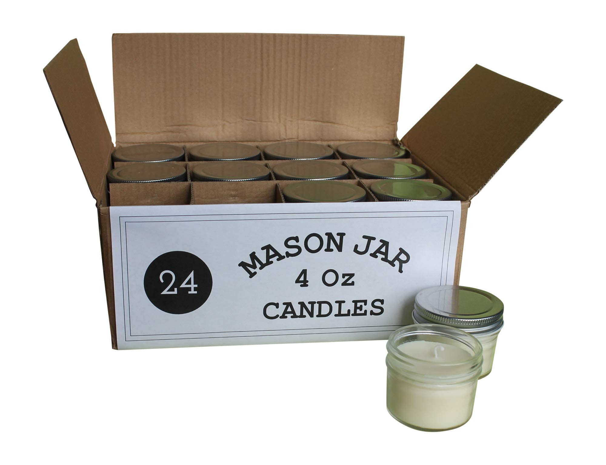 Set of 24 Bulk Wholesale Mini Mason Jar Candles - 4 Ounce - Perfect for Weddings, Restaurants, Gifts, Baby Showers by Mason Jar Warehouse