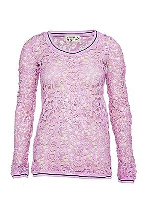 63aa9f5487b0 Frogbox Damen Shirt Langarmshirt FLOCK PRINT, Farbe  Rosa, Größe  34   Amazon.de  Bekleidung