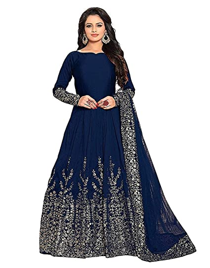 afc8e9cc24 Globatic Creation For Women's Taffeta Silk Embroidered Semi-Stitched  Anarkali Gown Today Preminum New Gowns Design Collection (Blue Gown)  (Blue): Amazon.in: ...