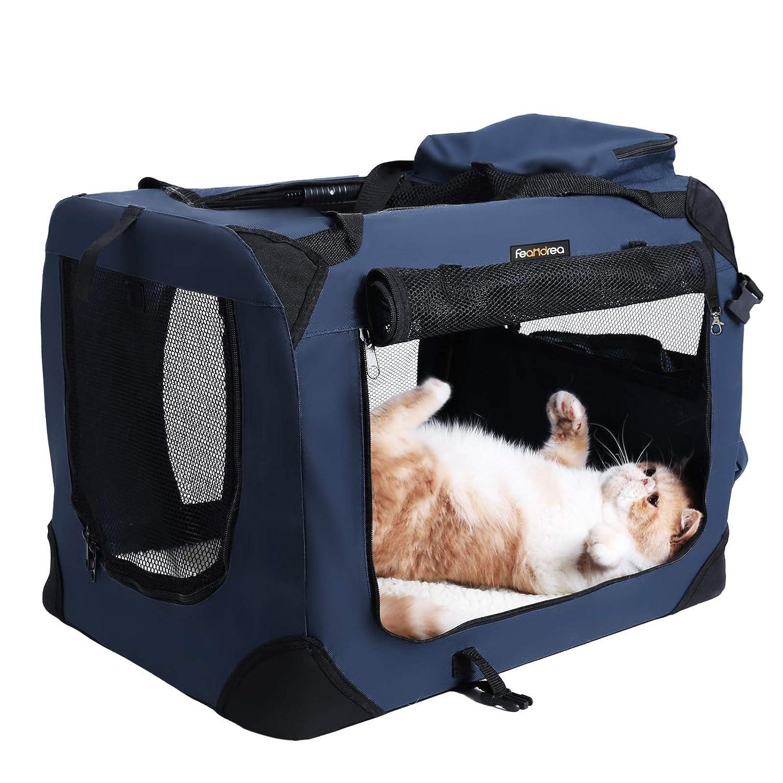 FEANDREA Bolsa de Transporte para Mascotas Transport/ín Plegable para Perro Portador Tela Oxford Azul Oscuro S 50 x 35 x 35 cm PDC50Z