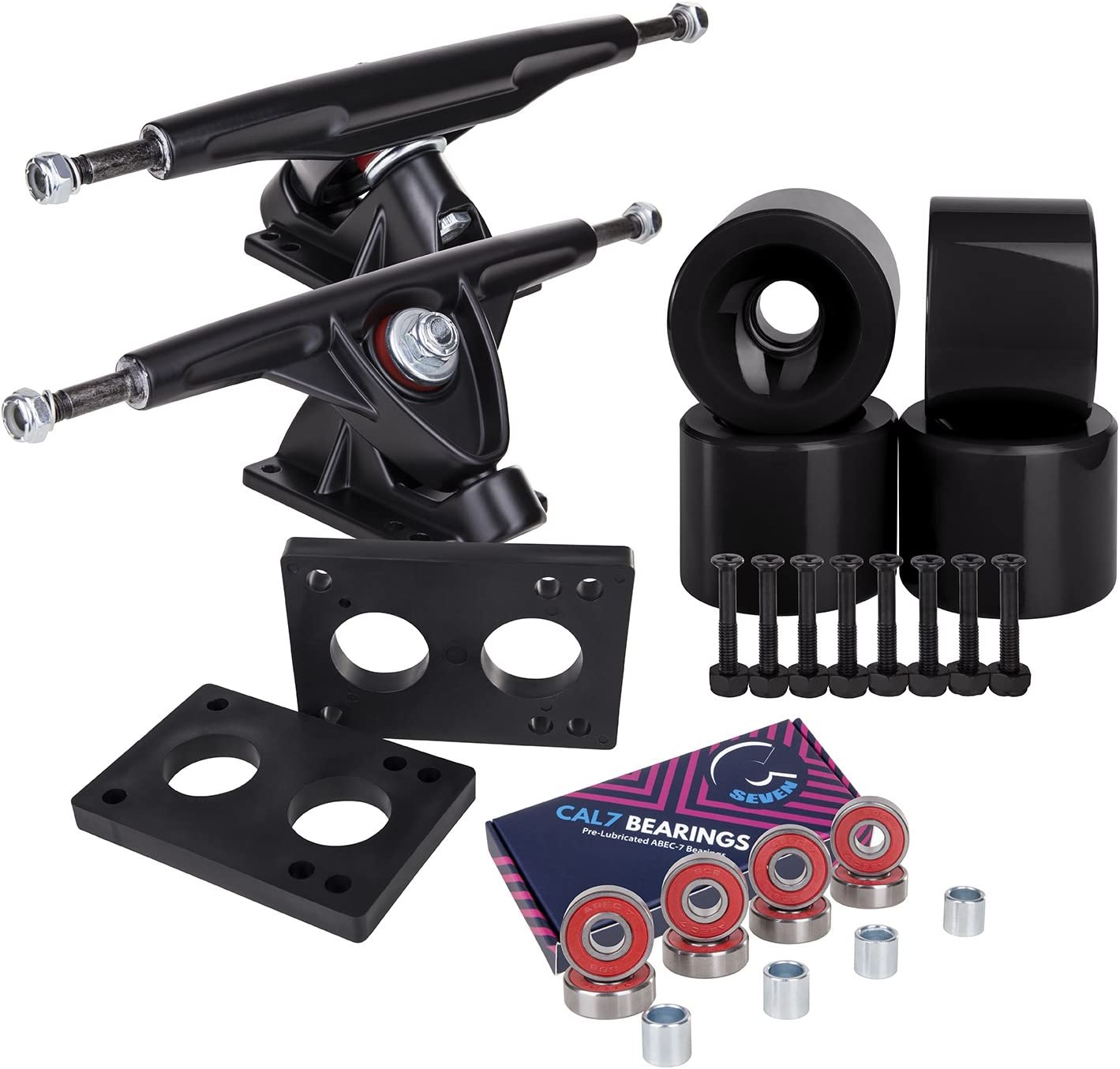 Best-Longboard-Truck-Cal-7-180mm-Trucks-with-Wheels-Bearings-Hardware