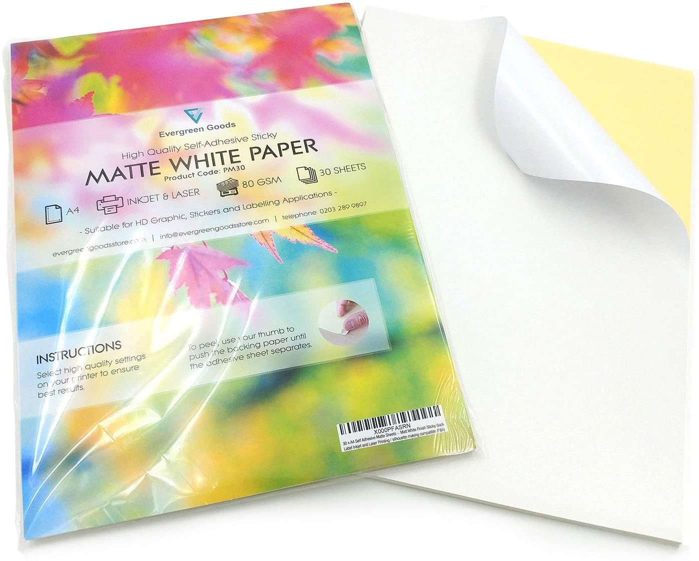 10 Sheets of Quality A4 White MATTE Self Adhesive Sticky Back Label Printing Paper Sheet