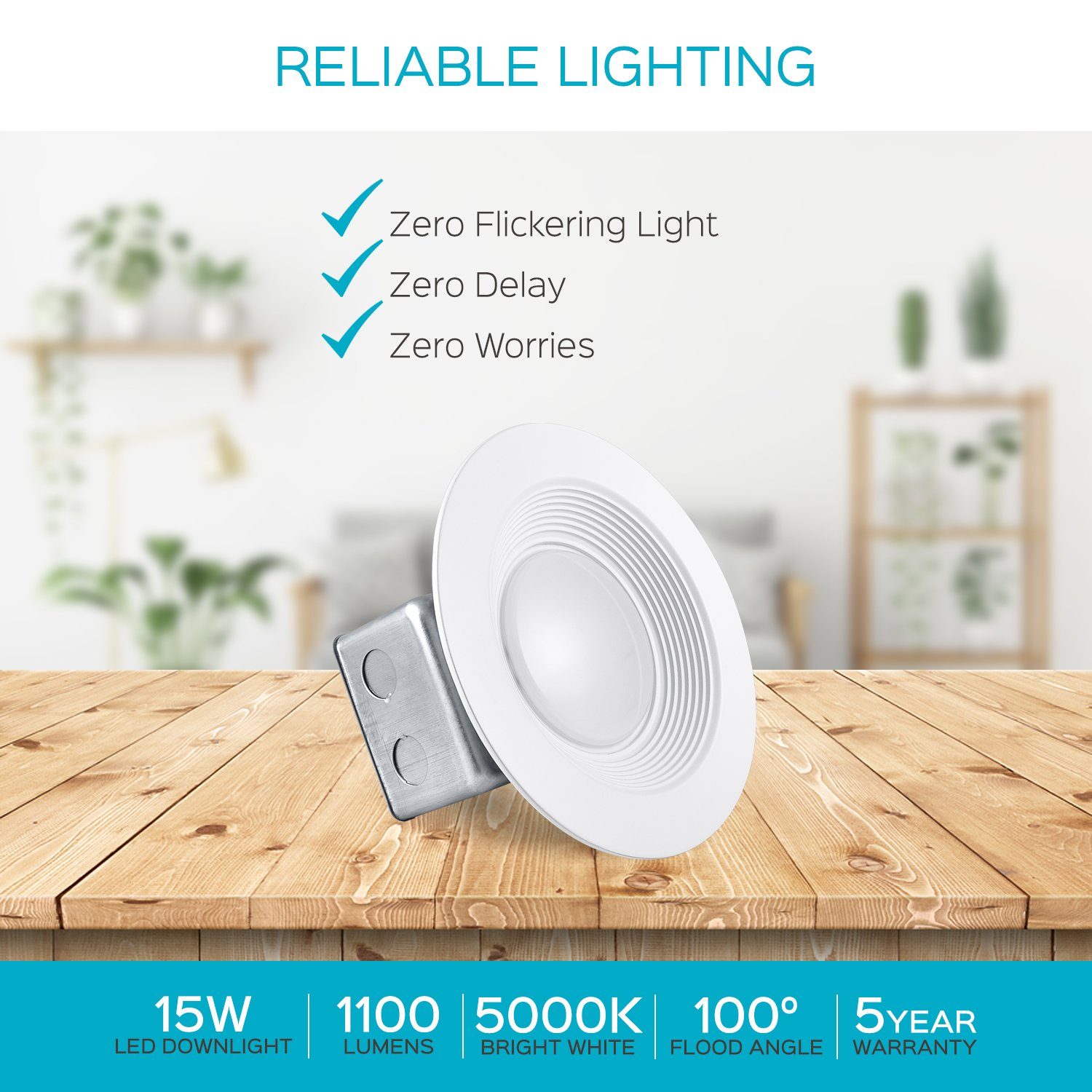 Luxrite 5/6 Inch LED Recessed Light with Junction Box, 15W, 5000K Bright White, Dimmable Airtight Downlight, 1100 Lumens, Energy Star, IC & Wet Rated, 120V - 277V, Recessed Lighting Kit (12 Pack) by LUXRITE (Image #9)