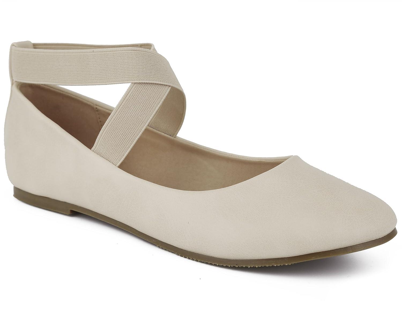 MaxMuxun Women Shoes Elastic Ankle Strap Slip On Closed Toe Flats B074QDWF6V 40 EU/9 US|Beige