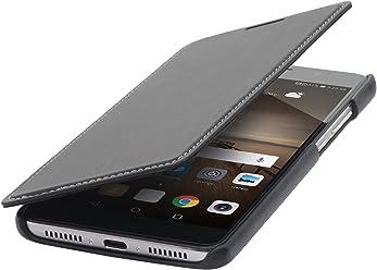 StilGut Book Type sans Clip, Housse en Cuir pour Huawei Mate 9. Etui de Protection à Ouverture latérale, en Noir Nappa