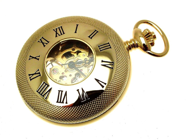vergoldet Mechanische Taschenuhr Half Hunter & Kette 1199900