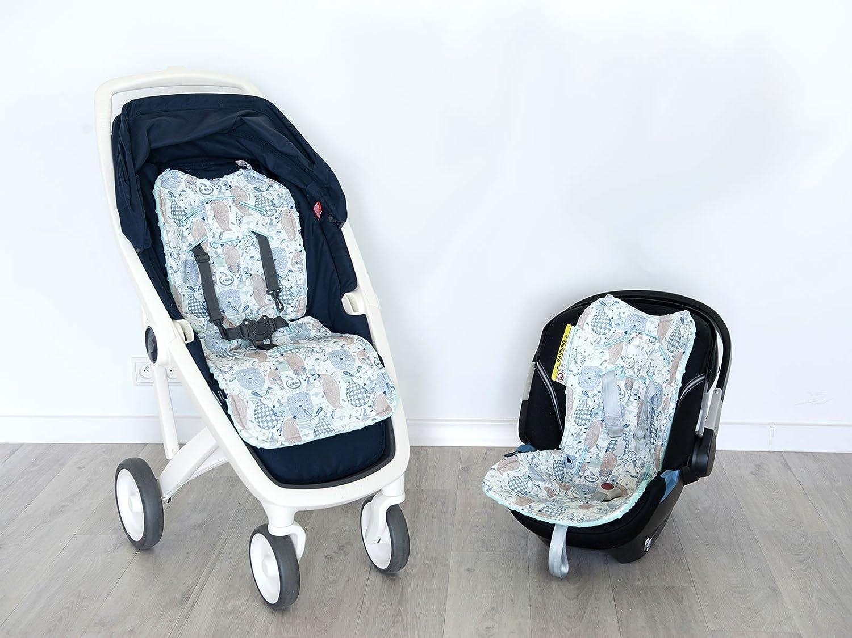 Thick Hypoallergenic Filling Reversible Stroller Pad Boho Royal Arrows - Latte La Millou Car Seat Liner,Soft