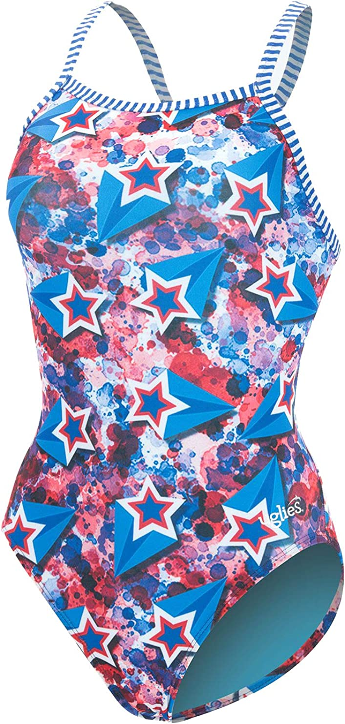 Dolfin Women/'s Uglies Prints V-2 Back One Piece Swimsuit Over The Rainbow, 36
