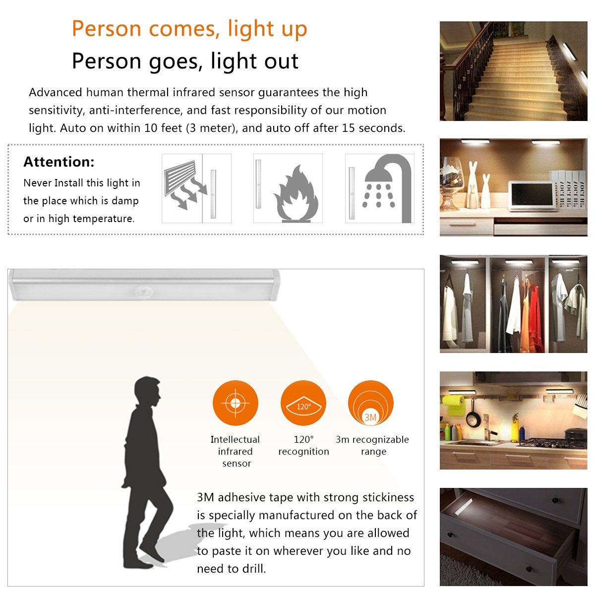 OZUAR Magnético Movimiento Sensor Luces, 10 Leds Lámpara de Pared Automática Alimentado por Batería, Pack de 2, Blanco Cálido/Blanco Frío (Oro Rosa): ...