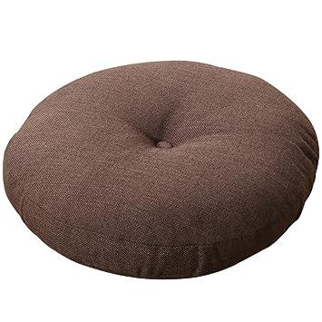 AB Crew Japanese Style Linen Zafu Meditation Yoga Bolster Tatami Floor Round Cushion(Coffee,19.7