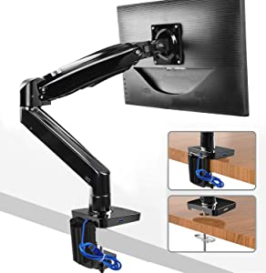 HUANUO Monitor Mount Stand - Long Single Arm Gas Spring Monitor Desk Mount for 22 to 35 Inch Computer Screens Height Adjustable VESA Bracket with Clamp or Grommet Mounting Base - Holds 6.6 to 26.4 lbs