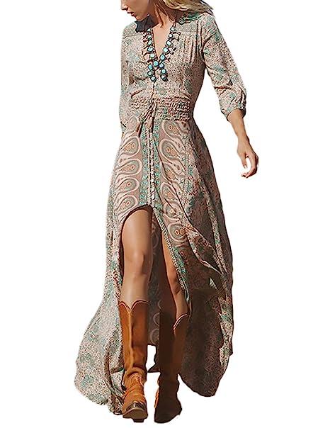 b03bc5585b30 HaiDean Donna Vestiti Lunghi Stampati Floreale Chiffon Elegante Giovane Hippie  Estive Manica 3 4 V