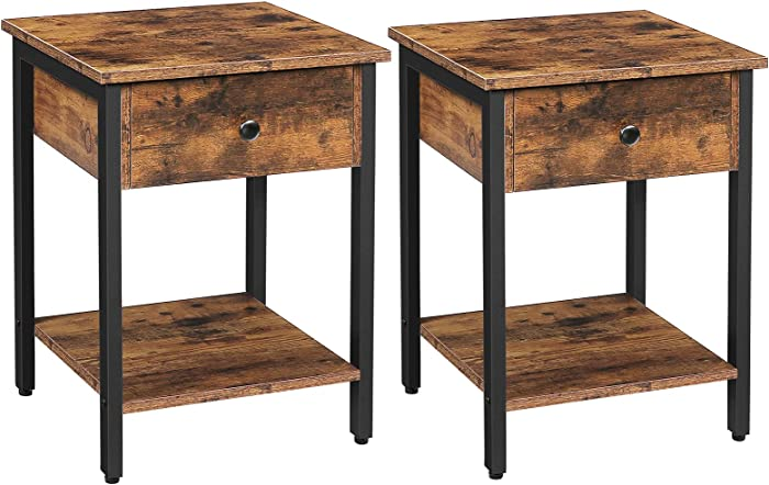 HOOBRO Set of 2 Nightstands, 2-Tier End Table, Industrial Side Table with Drawer and Storage Shelf, Wood Accent Table with Metal Frame, Easy Assembly, Rustic Brown and Black BF40BZP201