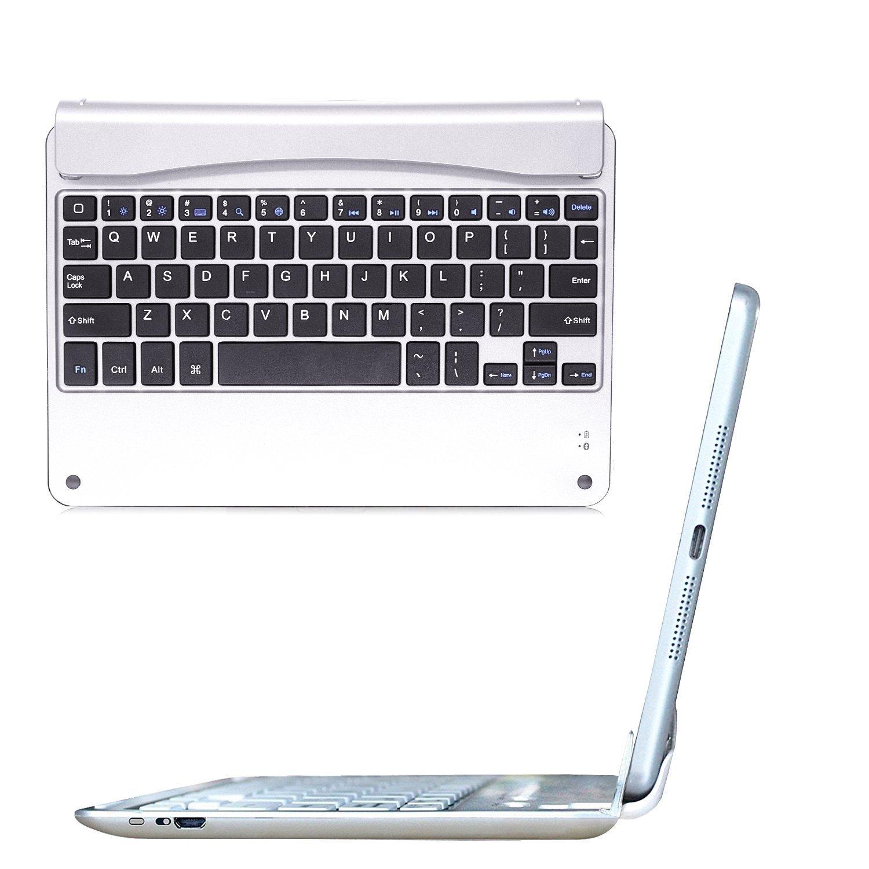 iPad Keyboard,Ultra-Thin iPad Slim Bluetooth Keyboard Folio Stand Groove fo iPad Air 2 Generation 130 Degree Swivel Rotating Key IDEA(Sliver)