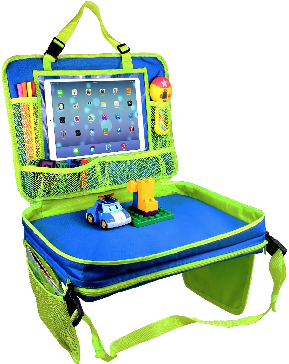 """Kids Travel Tray-4 in 1 Car Seat Travel Play Tray,Backseat Storage Organizer,Carry Bag and iPad & Tablet Holder All in One-Toddlers Lap Tray(17""""x13"""")-Great for Activity, Snacks and Play(Blue)"""
