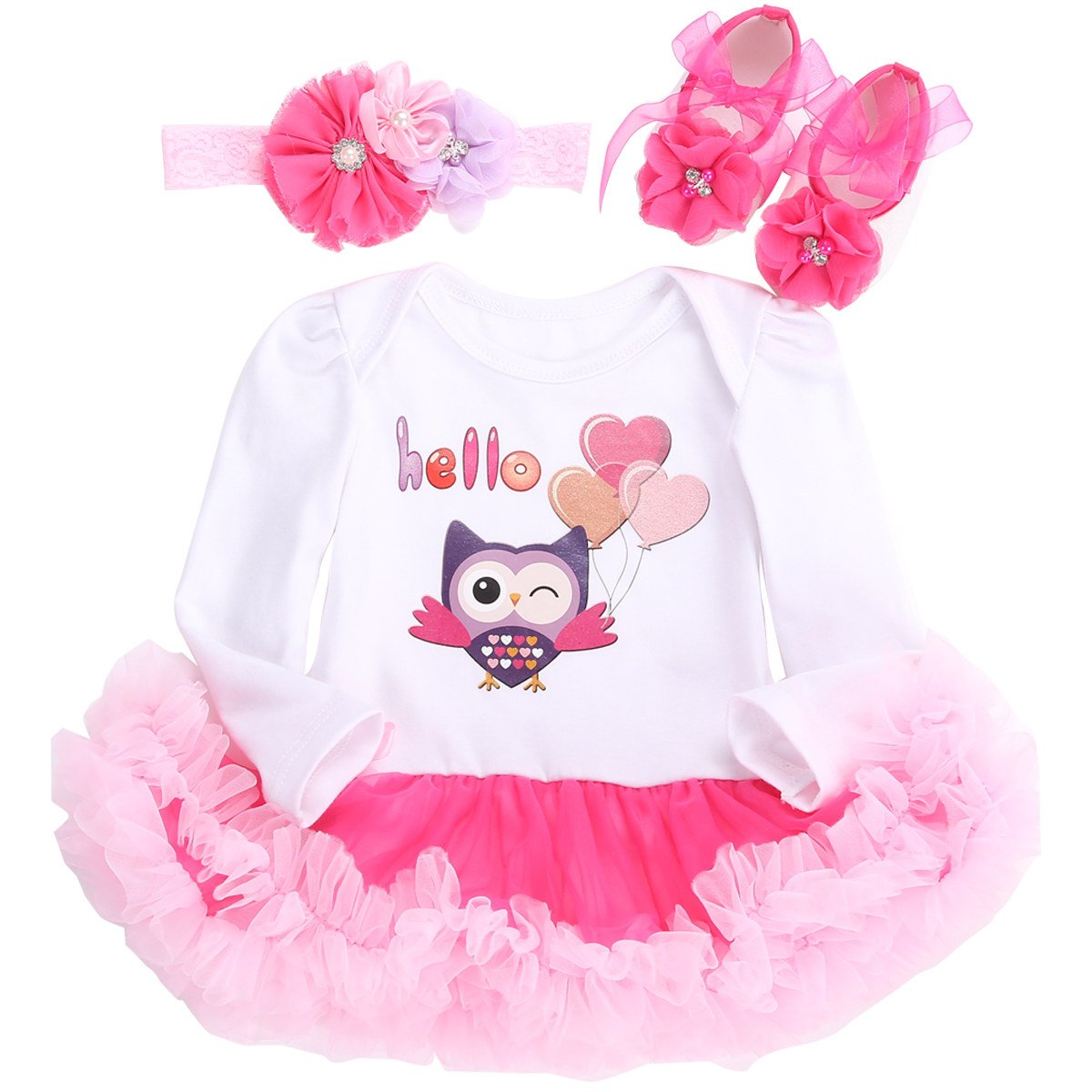 Fubin Wedding Tween Clothes For Girls Onesie Clothes For Birthday Fall Baby Girl Clothes OWL Long Sleeve 7-9 Months/26-29''/18-21lb
