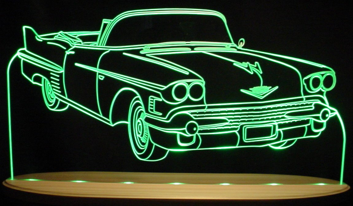 1958 Cadillac Convertible Awesome 21'' Acrylic Lighted Edge Lit LED Sign / Light Up Plaque 58 VVD12 Full Size USA Original by ValleyDesignsND