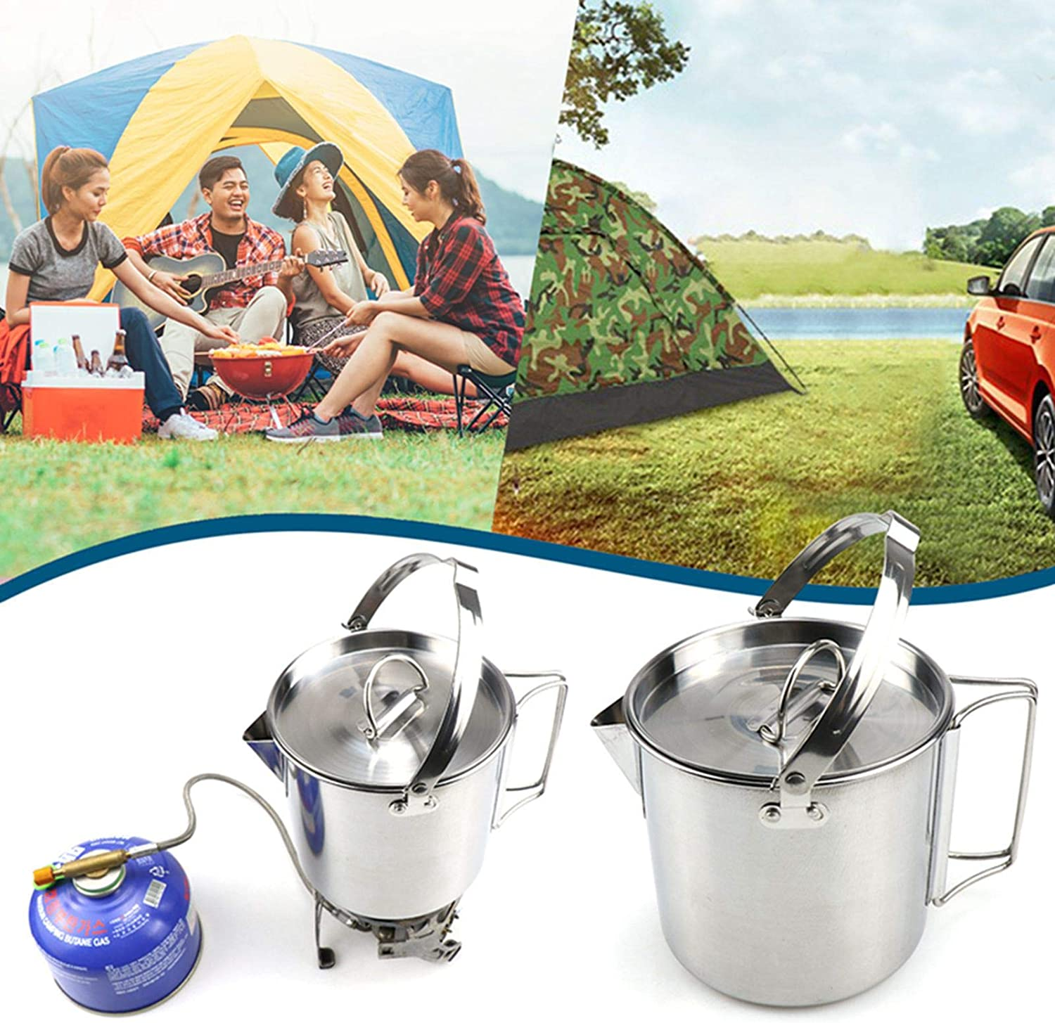 Sweet/&rro17 0.75L Camping Water Cup with Tripod Grill Set Hanging Barbecue with Hook for Camping Hiking Picnic