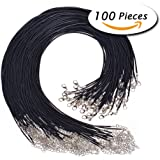 """Paxcoo 100PCS 2.0mm Black Waxed Necklace Cord Bulk with Clasp for Jewelry Making (18"""")"""