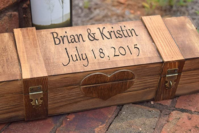 Personalized Ceremony Wine Box With 2 Lockable Hinges Lockable Wine Box Personalized Wine Box Wine Box Gift Personalized Gift